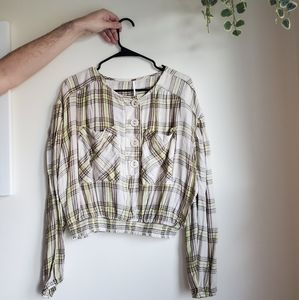 Free People Plaid Button Top